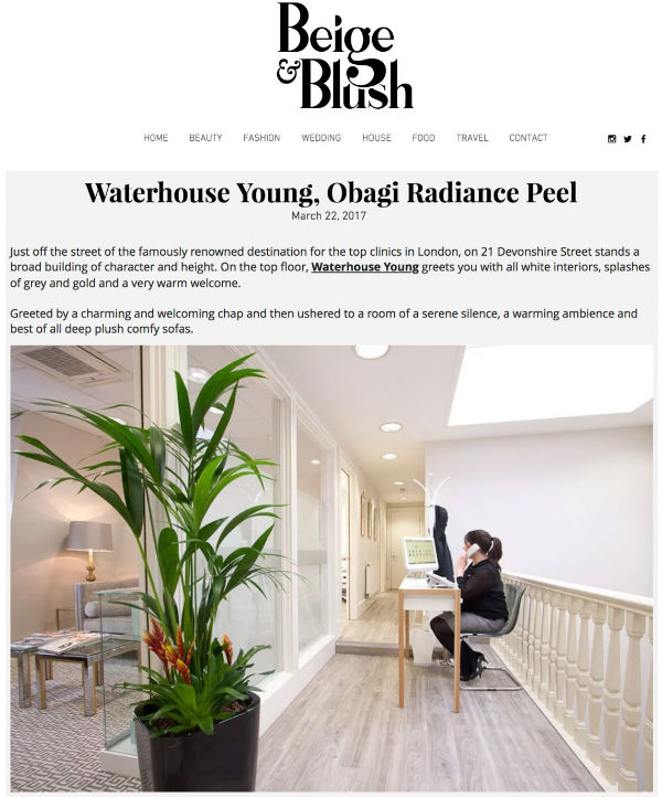beige and blush feature on the waterhouse young obagi radiance peel