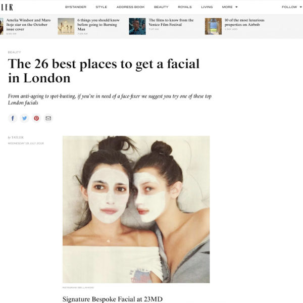 tatler article about the 26 best places to get a facial in London featuring waterhouse young clinic