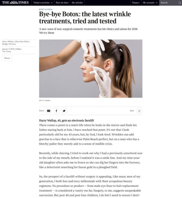 the times article about the latest wrinkle treatments featuring waterhouse young