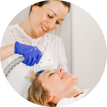 senior aesthetic practitioner treating a patient with non-surgical facial rejuvenation