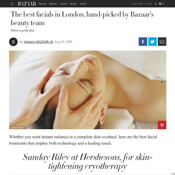 harpers bazaar article reviewing the best facials in london featuring waterhouse young