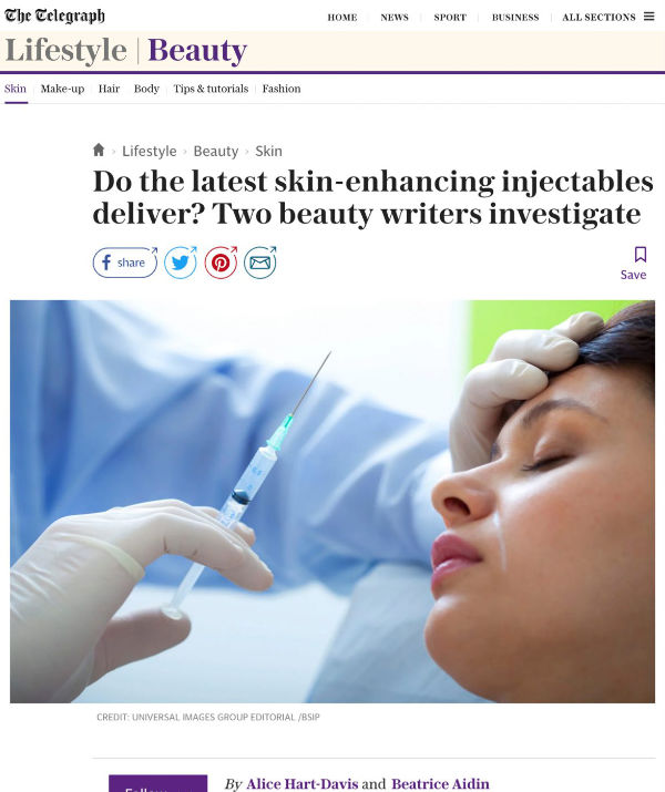 an article by the telegraph reviewing the latest skin-enhancing injectables featuring waterhouse young