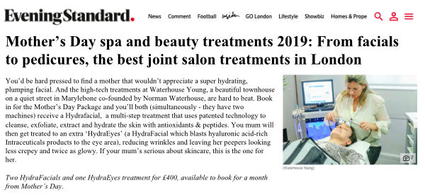evening standard press article about the best joint salon treatments in London, featuring Waterhouse Young