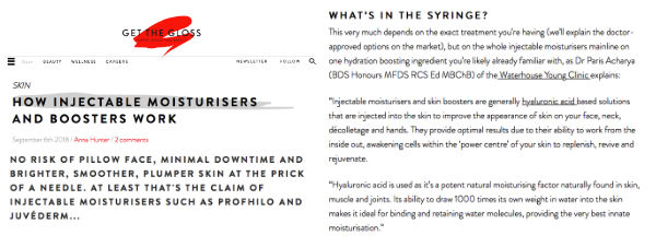 Get the gloss article about how injectable moisturisers work, featuring WY Clinic