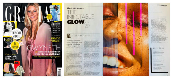 grazia magazine article discussing 'the injectable glow' and featuring Waterhouse Young