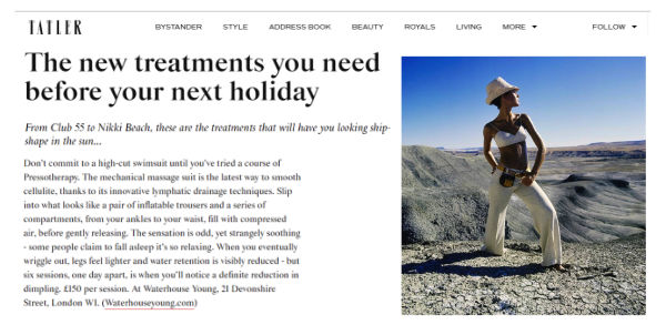 tatler article about the new treatments you need before your next holiday, featuring Waterhouse Young