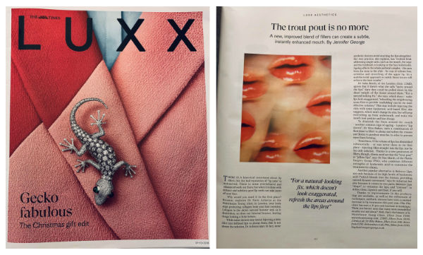 the times luxx magazine article called 'the trout pout is no more', featuring Waterhouse Young